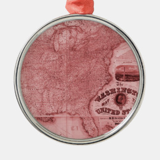 Old United States Map Metal Ornament