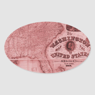 Old United States Map Oval Sticker
