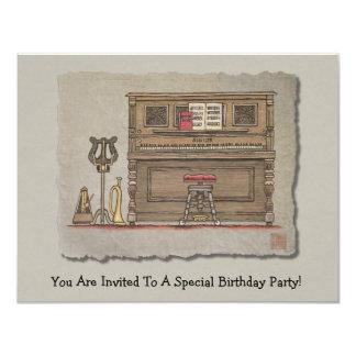 """Old Upright Piano 4.25"""" X 5.5"""" Invitation Card"""