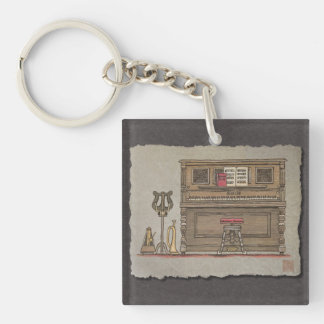 Old Upright Piano Keychain