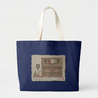 Old Upright Piano Large Tote Bag