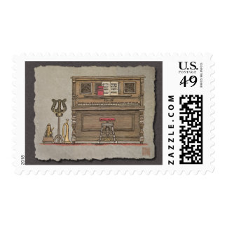 Old Upright Piano Postage Stamp