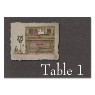 Old Upright Piano Table Card