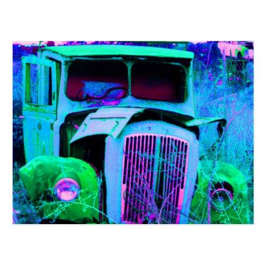 old van blue postcard