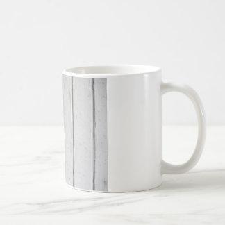 Old varnished grey wooden barn door texture coffee mug