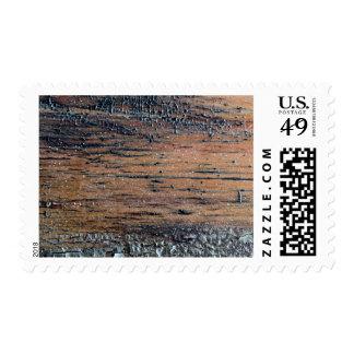 Old Varnished Wood Image. Postage Stamp