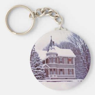 Old Victorian House at Christmas Keychain
