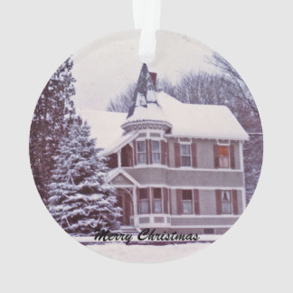 Old Victorian House at Christmas Ornament