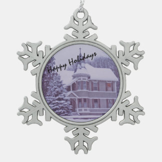 Old Victorian House at Christmas Snowflake Pewter Christmas Ornament