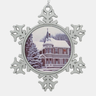 Old Victorian House Snowflake Pewter Christmas Ornament