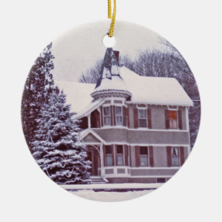 Old Victorian House with Customizable Text on Back Ceramic Ornament