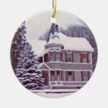 Old Victorian House with Customizable Text on Back Double-Sided Ceramic Round Christmas Ornament