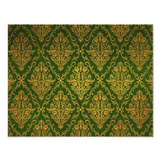 Old Victorian Roses Pattern, green 4.25x5.5 Paper Invitation Card