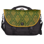 Old Victorian Roses Pattern, green Laptop Commuter Bag
