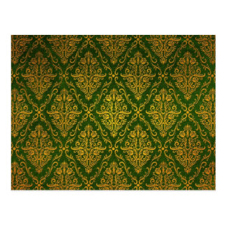 Old Victorian Roses Pattern, green Postcard