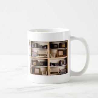 Old Vintage 1950's Radios on Shelves Classic White Coffee Mug