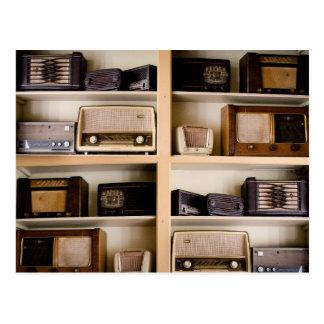 Old Vintage 1950's Radios on Shelves Postcard