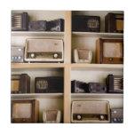 Old Vintage 1950's Radios on Shelves Tile