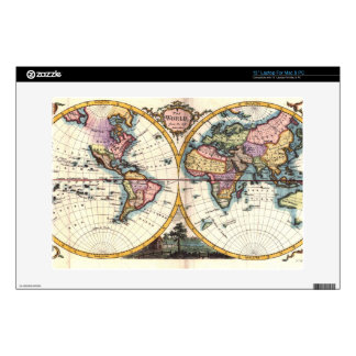 "Old Vintage Antique world map illustration drawing Decals For 13"" Laptops"