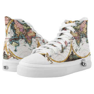 Old Vintage Antique world map illustration drawing High-Top Sneakers