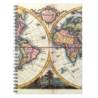Old Vintage Antique world map illustration drawing Spiral Notebook