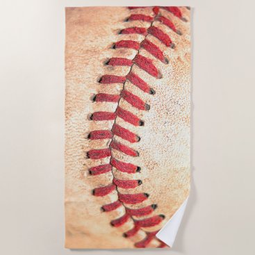 Old Vintage Baseball Ball Red Stitching Beach Towel