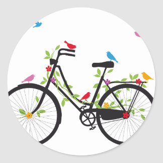 Old vintage bicycle with flowers and birds classic round sticker