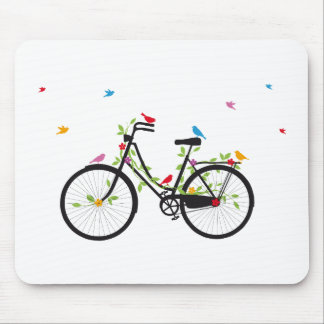 Old vintage bicycle with flowers and birds mouse pad