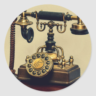Old Vintage Brass Rotary Telephone Phone Classic Round Sticker