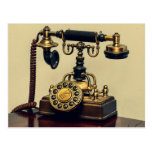 Old Vintage Brass Rotary Telephone Phone Postcard