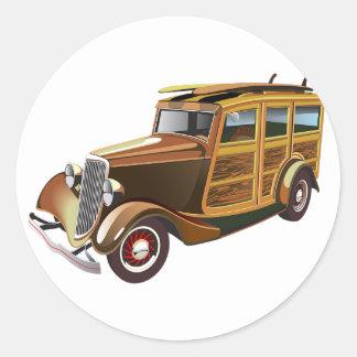 Old Vintage Car Classic Round Sticker