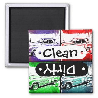 Old Vintage Car Watercolor Pop Art Print 2 Inch Square Magnet
