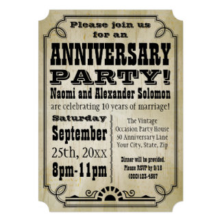 Old Vintage Country Anniversary Party Invitation Custom Announcement