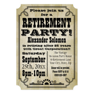 Old Vintage Country Retirement Party Invitation