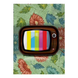 Old Vintage CRT Television Poster