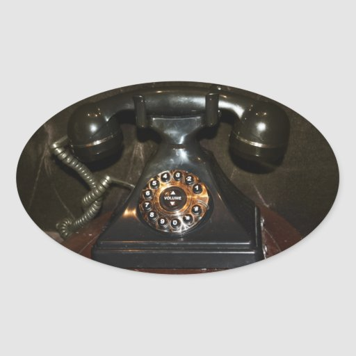 Old Vintage Dial-up Phone Oval Sticker