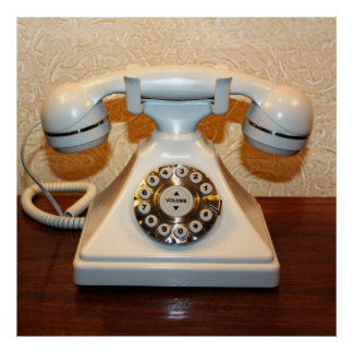 Old Vintage Dial-up White Phone Poster