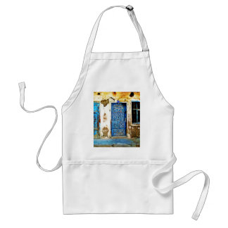 Old Vintage Greece Blue Door Boho Style Adult Apron