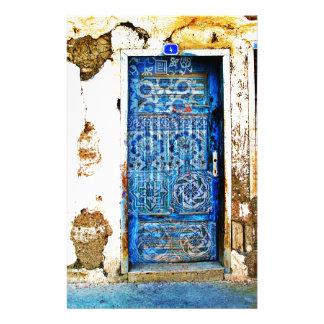 Old Vintage Greece Blue Door Boho Style Stationery