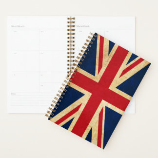 Old Vintage Grunge United Kingdom Flag Union Jack Planner