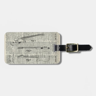 Old Vintage Guitar Illustration On Dictionary Page Luggage Tag