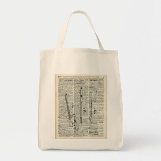 Old Vintage Guitar Illustration On Dictionary Page Tote Bag