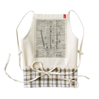 Old Vintage Guitar Illustration On Dictionary Page Zazzle HEART Apron