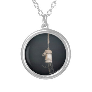 Old Vintage Hanging Lightbulb Electric Silver Plated Necklace