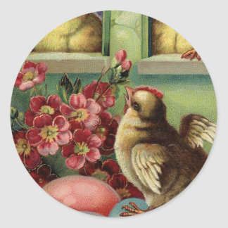 Old Vintage Happy Easter chicken neighbors & eggs Classic Round Sticker