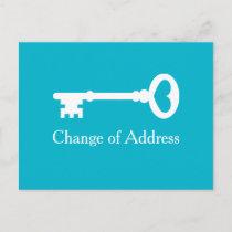 Old vintage key moving postcards for new address