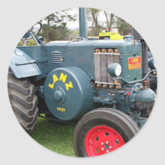 Old vintage Lanz Bulldog tractor farm machinery Classic Round Sticker