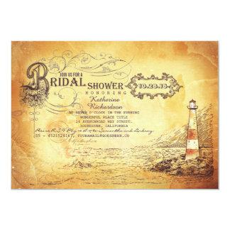 Old vintage lighthouse nautical bridal shower card