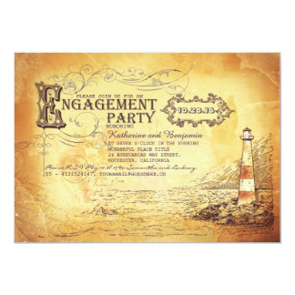 Old vintage lighthouse nautical engagement party card
