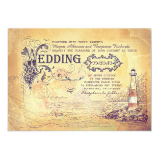 Old vintage lighthouse nautical wedding invites